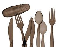 Forquilhas, colheres, facas e silhueta do pepino Imagem de Stock Royalty Free