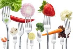 Forquilhas com vegetais Imagem de Stock Royalty Free