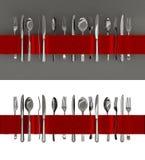 Forquilhas, facas e bandeira da colher Fotos de Stock Royalty Free