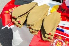 Forraje-casquillos soviéticos del ejército con las estrellas rojas Foto de archivo libre de regalías