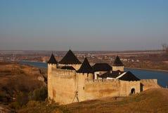 Forress antiguos en Khotyn, Ucrania Fotografía de archivo