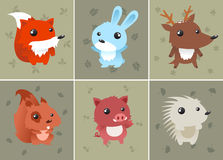 Forrest baby animals cartoons. Forrest baby animals set includes: squirrel, hedgehog, fox, rabbit, deer and wild boar. Can be used as computer icons. Vector Stock Images