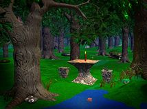 Forrest magic. A stone table in a forrest clearing royalty free illustration