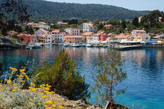 Forrest mountains and viilage in the sea harbor on island in croatia Royalty Free Stock Photos