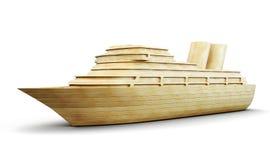Forro de madeira do cruzeiro isolado no fundo branco 3d Foto de Stock Royalty Free