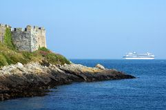 Forro do cruzeiro do cartucho do castelo de Guernsey que parte Imagem de Stock