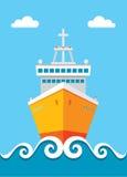 Forro do cruzeiro - vector a ilustração do conceito no estilo liso do projeto para a apresentação, a brochura, o Web site etc. ilustração stock