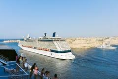 Forros do cruzeiro no porto grande, porto em Valletta Imagens de Stock