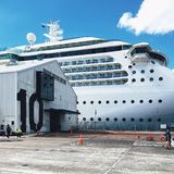 Forros pac?ficos brancos do cruzeiro na doca no porto de Auckland foto de stock royalty free