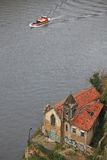 Forsaken church with graffiti on the bank of Duoro river Royalty Free Stock Photo