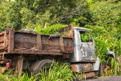 The forsaken rusty truck in the vegetation, Hawaii Stock Photos