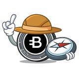 Forscher-Bytecoin-Münzenmaskottchenkarikatur stock abbildung