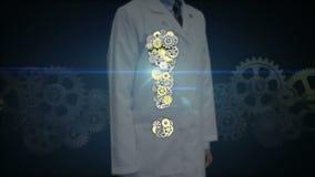 Forscher, Doktorhahn Gang, die goldenen Stahlgänge, die Ausrufezeichen machen, formen stock video