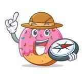 Forscher-Donutmaskottchen-Karikaturart vektor abbildung