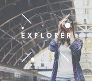 Forscher-Journey Explore Leisure-Konzept lizenzfreie stockfotos