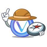 Forscher-VeChain-Münzenmaskottchenkarikatur lizenzfreie abbildung
