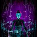 Forscherfrau der virtuellen Daten Stockbild