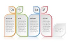 Forschung, Zeitachse, 4 Schritte, Arbeitsfluß, Strategie, Aufkleber stockfotos