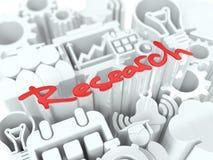 Forschungs-Konzept auf weißem Hintergrund. Stockbilder