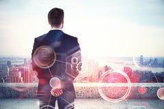 Forschungs-, Technologie- und Kommunikationskonzept lizenzfreies stockfoto