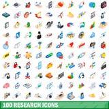 100 Forschungsikonen eingestellt, isometrische Art 3d Stockfotografie