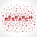 Forschungswort mit in Alphabeten Stockbilder