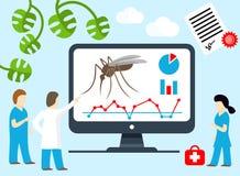 Forskare doktorer sonderar nya vägar att kontrollera malaria och myggan Malariaforskning, mygga-uthärdad sjukdom för sökandebot vektor illustrationer