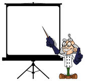 Forskare på projektorskärmen Arkivfoton