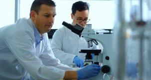Forskare som använder mikroskopet i laboratoriumet 4k arkivfilmer