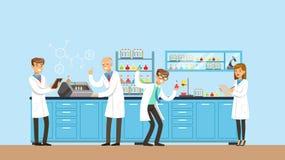 Forskare som arbetar forskning i den kemiska labbet, inre av vetenskapslaboratoriumet, vektorillustration royaltyfri illustrationer