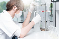 Forskare som arbetar i laboratoriumet som testar prövkopior Royaltyfri Bild