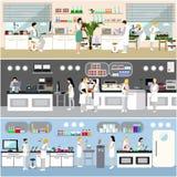 Forskare som arbetar i laboratoriumvektorillustration Inre för vetenskapslabb Biologi-, fysik- och kemiutbildning Royaltyfri Bild