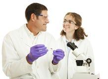 forskare som fungerar tillsammans Arkivfoton