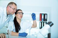 Forskare två i laboratorium Forskning Royaltyfria Bilder