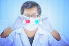 Forskarehåll och undersöker prövkopior i laboratorium Royaltyfria Foton