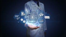 Forskaren den öppna teknikern gömma i handflatan, den finansiella teknologiillustrationsymbolen och den olika grafen