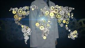 Forskaren den öppna teknikern gömma i handflatan, stålsätter guld- kugghjul som gör den globala världskartan globalt förbind tekn royaltyfri illustrationer