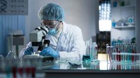 Forskaren som studerar dna, förgrena sig för extra information i kloningprocess royaltyfri foto