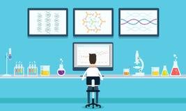 Forskning för vektorfolkforskare i laboratoriumprocess Arkivbild