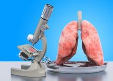 Forskning och diagnostik av begreppet för lungasjukdom Laboratoriummikroskop med mänskliga lungor, tolkning 3D royaltyfri illustrationer