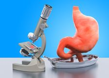 Forskning och diagnostik av magesjukdombegreppet Laboratoriummikroskop med den mänskliga magen, tolkning 3D stock illustrationer