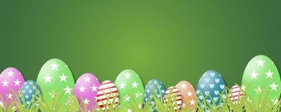 2 forsują pisklęca pojęcia Easter jajek kwiatów trawa malujących umieszczających potomstwa Zielona trawa, Easter jajka i sieć szt ilustracji