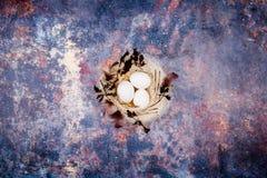 2 forsują pisklęca pojęcia Easter jajek kwiatów trawa malujących umieszczających potomstwa Biali jajka w eleganckim słomy gniazde Zdjęcia Royalty Free