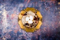 2 forsują pisklęca pojęcia Easter jajek kwiatów trawa malujących umieszczających potomstwa Biali jajka w eleganckim słomy gniazde zdjęcia stock