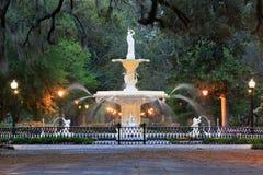 Forsyth Fountain Savannah Georgia Icon at Night royalty free stock photos