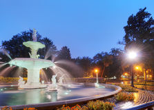 Forsyth Fountain in Savannah. In the morning stock image