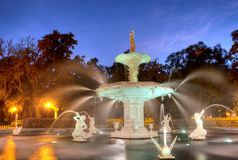 Forsyth Fountain in Savannah. In the Morning Hour stock image