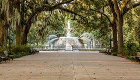 Forsyth Fountain Under Oaks stock photos