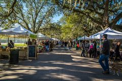 Forsyth Park Farmers Market. SAVANNAH, GEORGIA MARCH 3, 2018 Forsyth Park Farmers Market, held every Saturday morning throughout the year royalty free stock image
