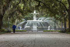Forsyth park and fountain Royalty Free Stock Images